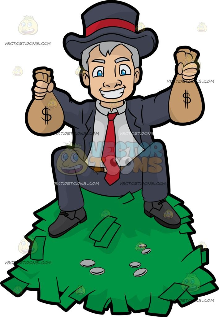 a man sitting on top a pile of cash and holding money bags in his hands rh pinterest com Raining Money Clip Art No Money Clip Art