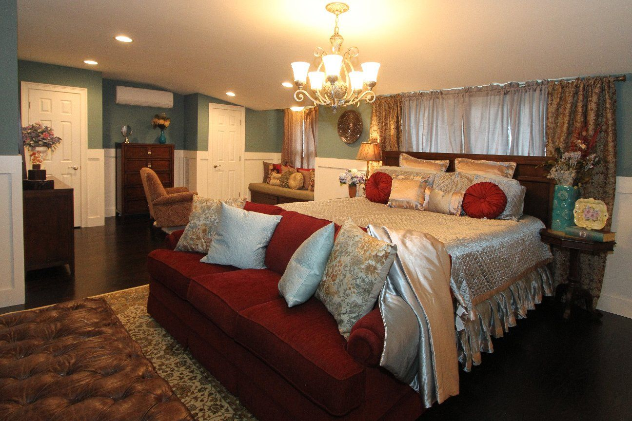 Master bedroom renovation in Monmouth county, NJ with bed