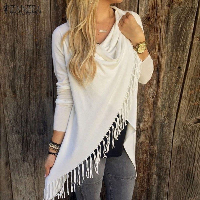 Long Sleeve Casual Cardigan Tassels Irregular Hem Solid Color Plus Size