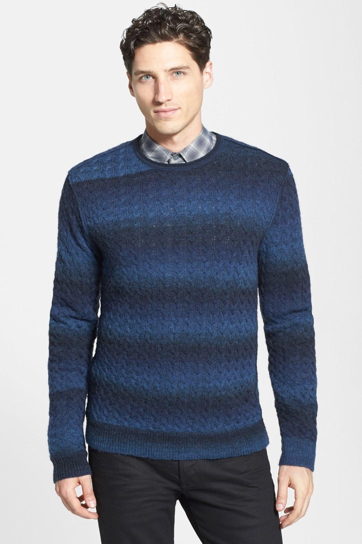 John Varvatos Star USA   Cable Knit Crew Neck Sweater   Crew neck ...