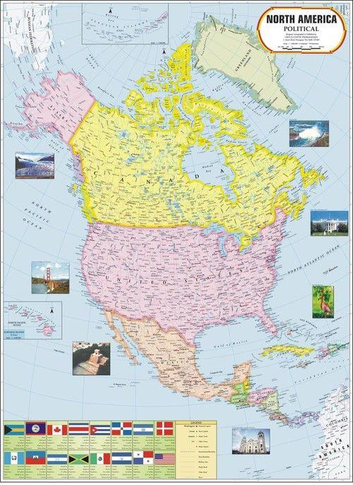 North America Political Map MAPS Pinterest Delhi india and India