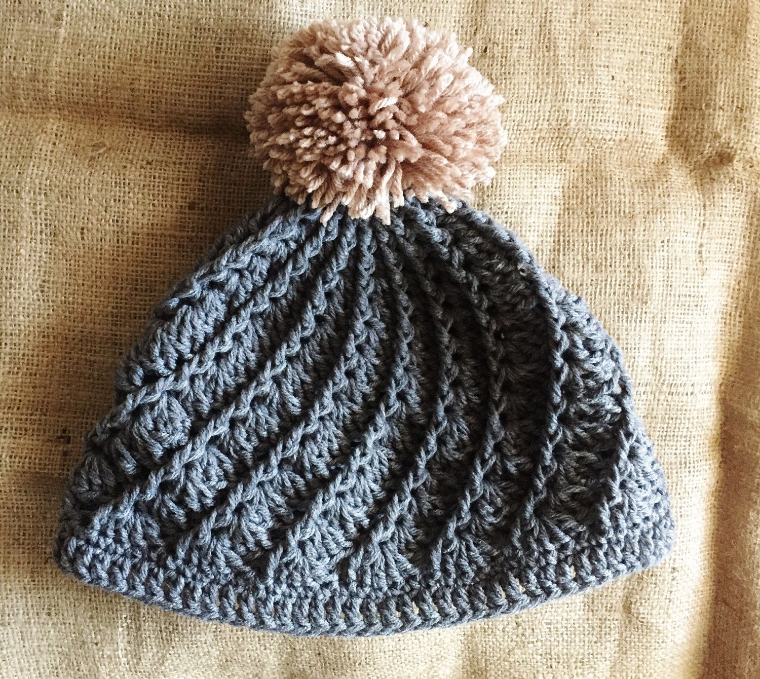crochet spiral pattern hipster winter hat beanie with pom pom