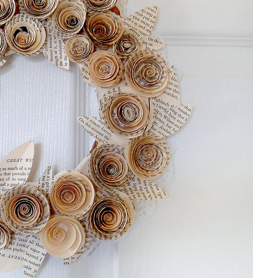 Recycled Book Paper Flower Wreath For Home Or Wedding Decor