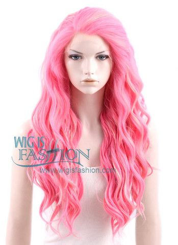 """24"""" Long Wavy Pink Mixed Blonde Lace Front Synthetic Wig - Wig Is Fashion"""