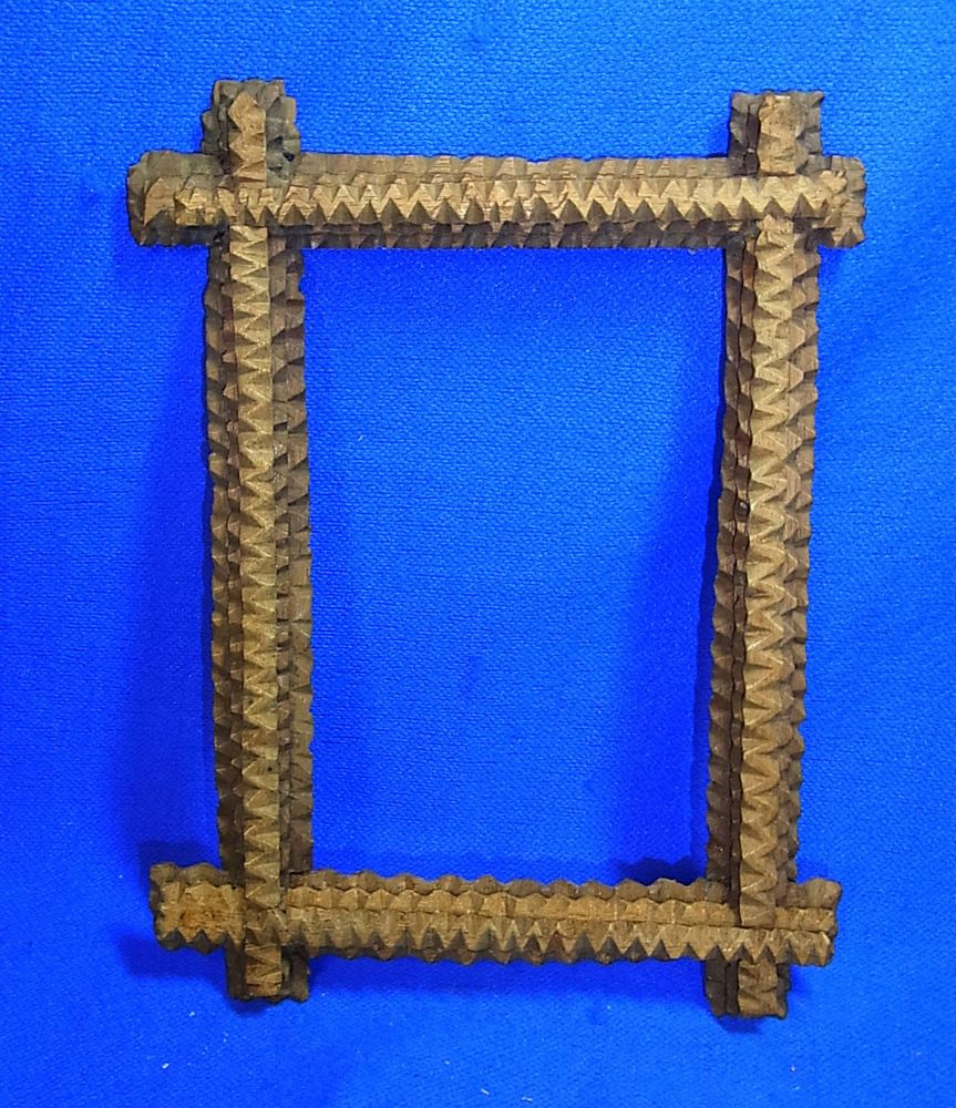 Antique German Wooden Tramp Art Picture Frame #AE