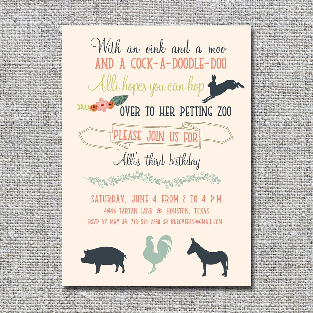 Petting Zoo Birthday Invitation In 2019