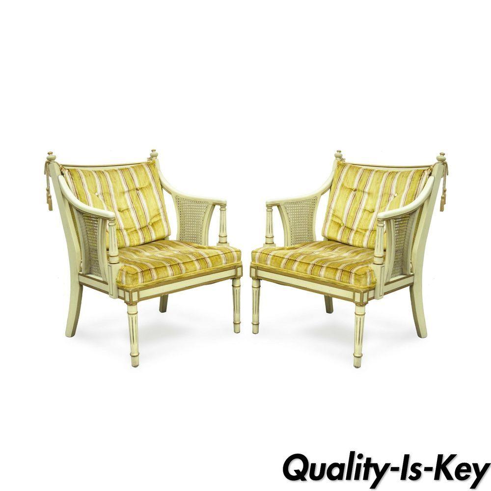 Pair Of Vtg Hollywood Regency Cream Gold French Tassel Cane Fireside Arm  Chairs