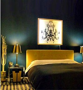 dark turquoise walls in the bedroom with yellow and gold ...