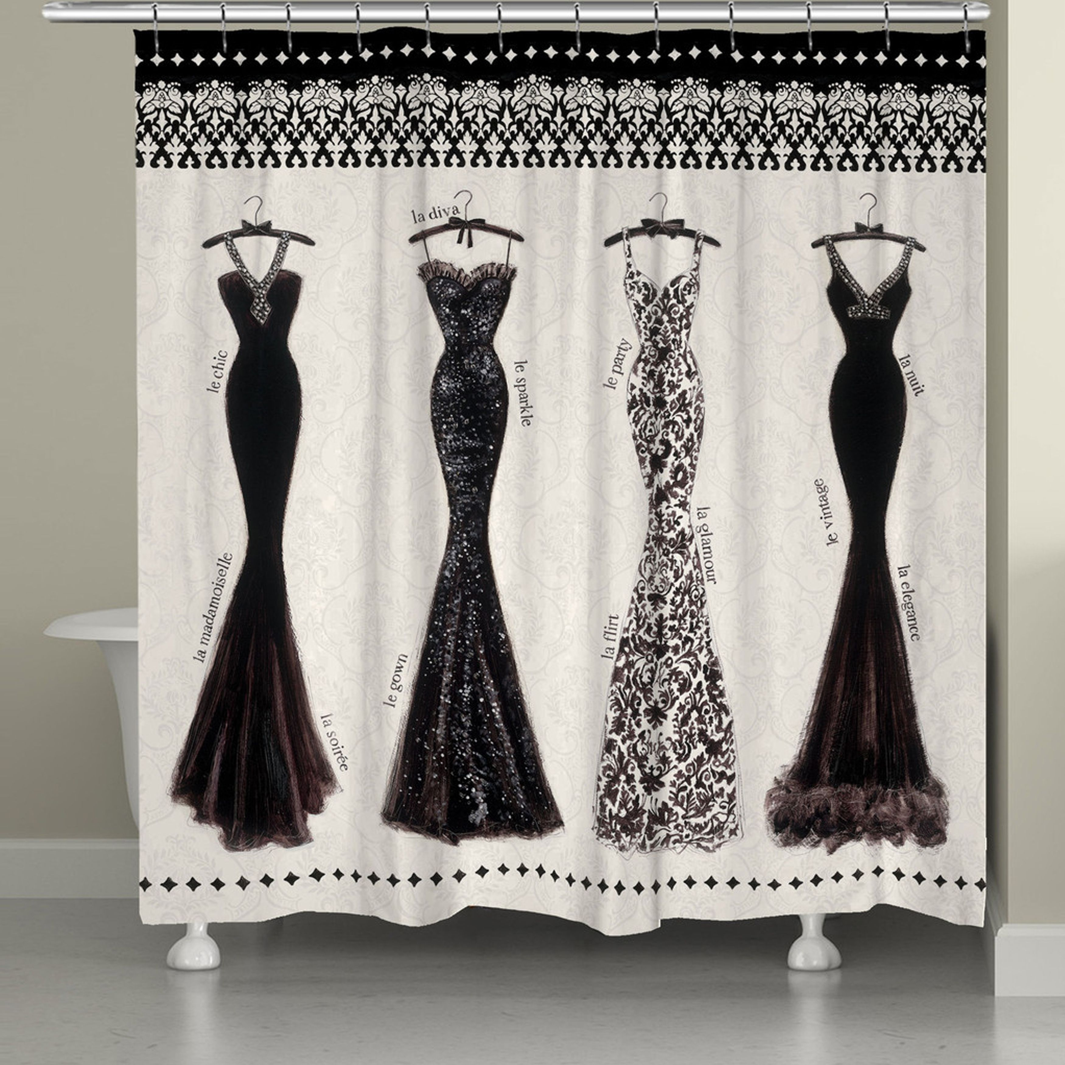 This off white shower curtains features elegant evening gowns with a