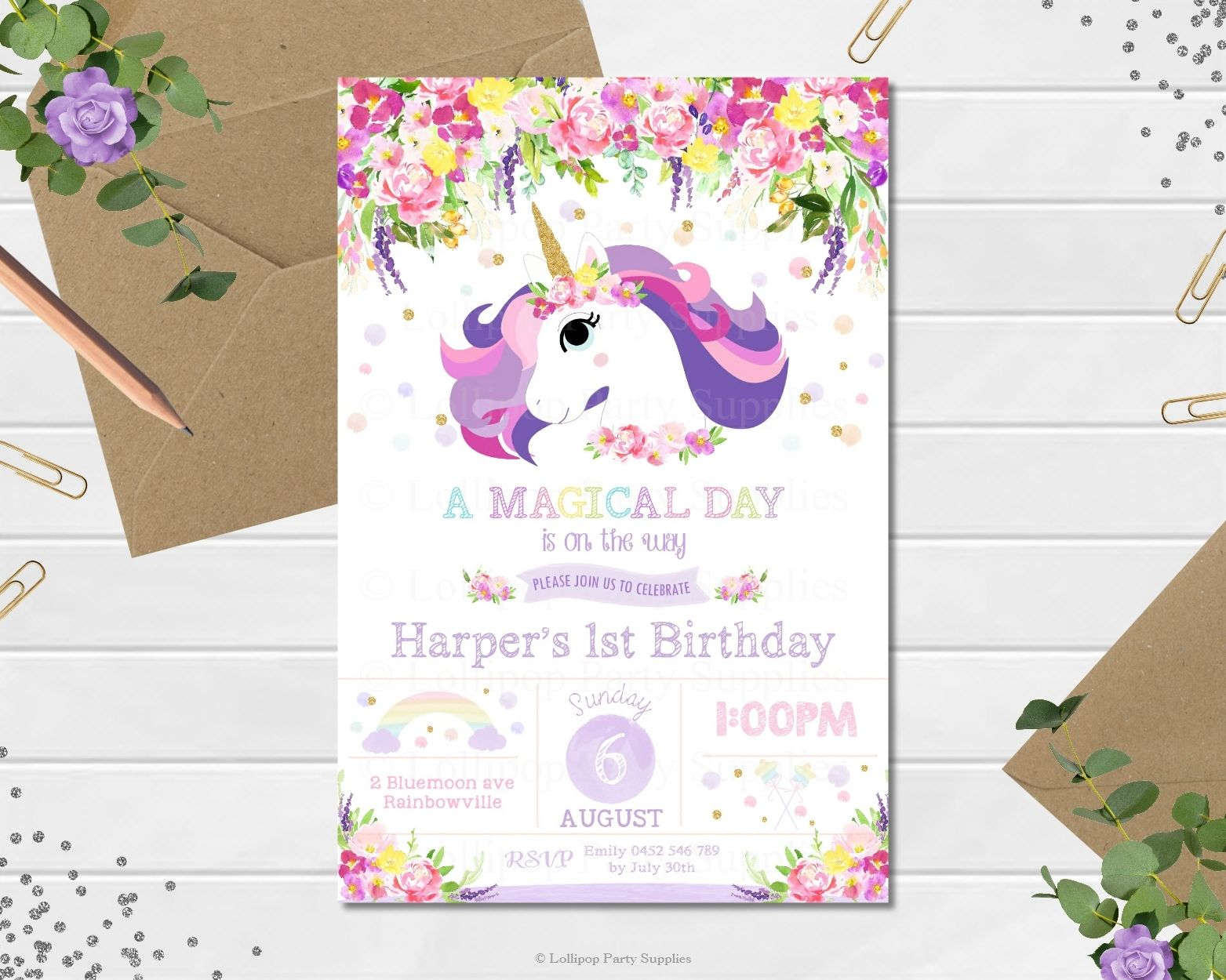 Shop for exquisite unicorn invitations, price starting from $1.00 ...