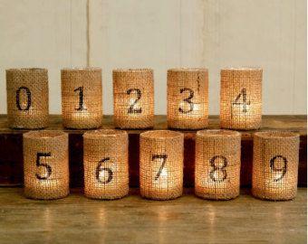 TEN burlap wedding table numbers, table numbers, burlap wedding decor, wedding reception