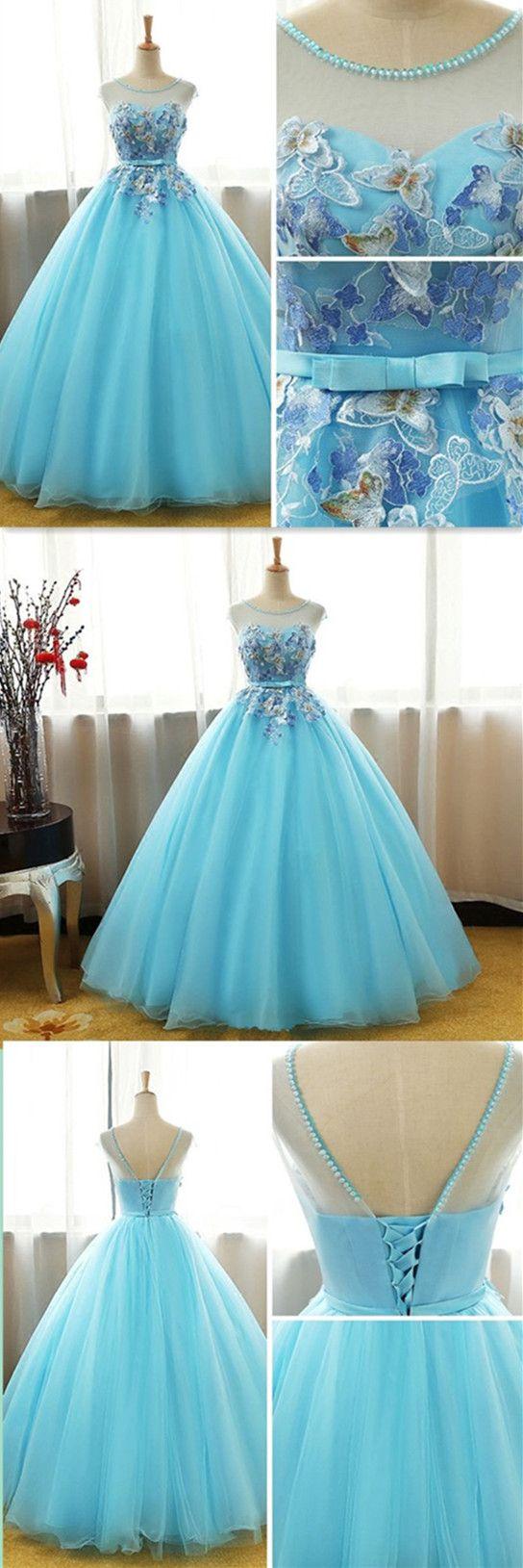 Ball gown appliques sexy prom dresslong evening dressevening dress
