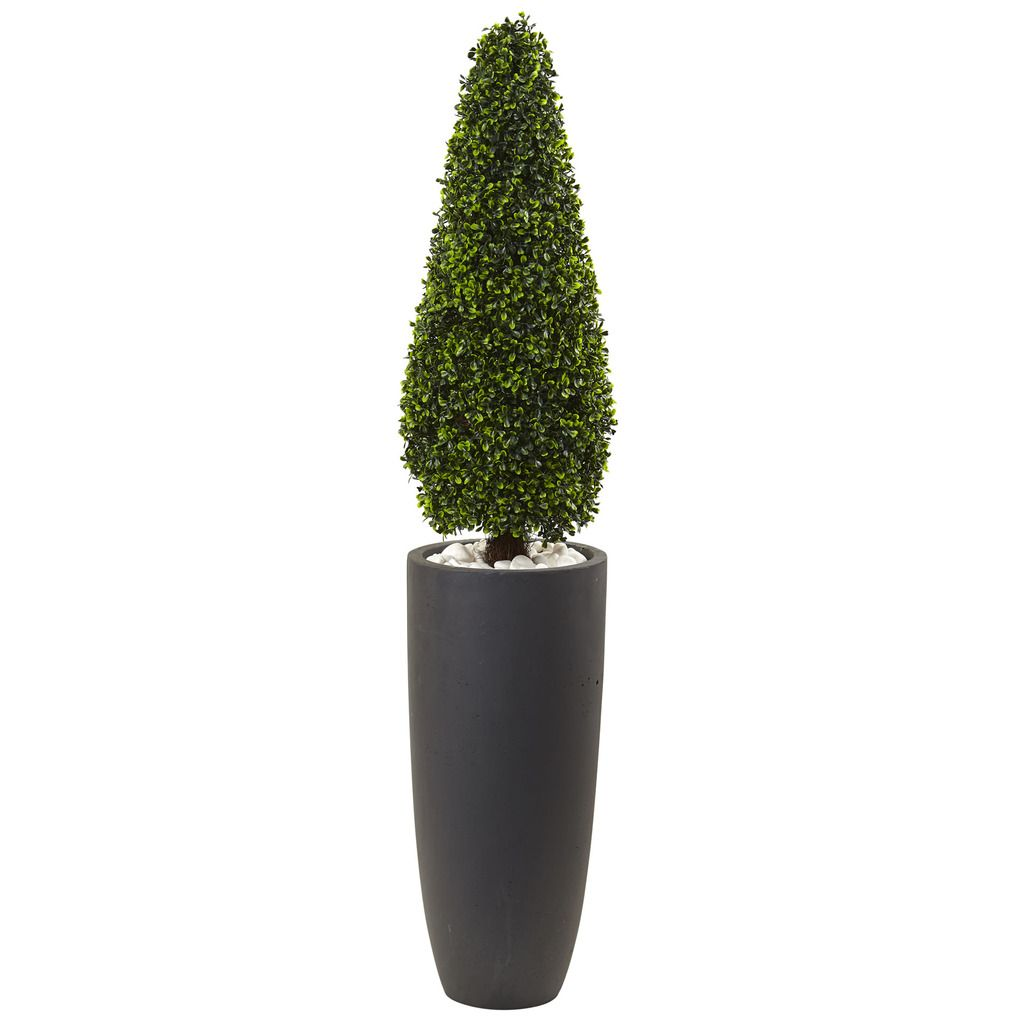 """Nearly Natural 50"""" Boxwood Topiary with Gray Cylindrical Planter UV Resistant (Indoor/Outdoor), Green"""