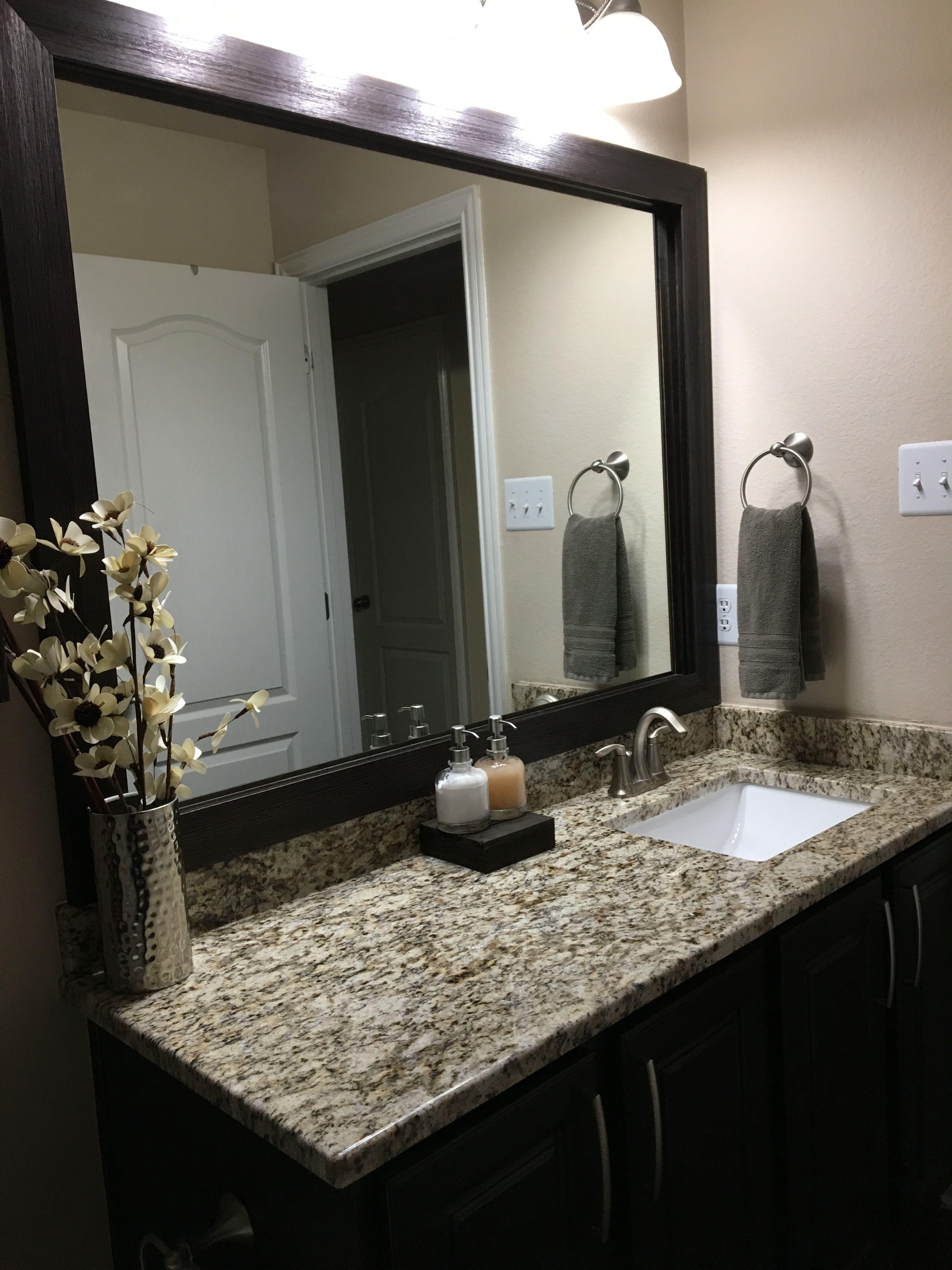 Eberhart Salle De Bain santa cecilia granite and dark cabinets - bathroom (with