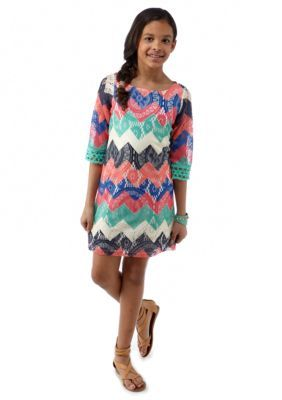 Sequin Hearts  Chevron Crochet Dress Girls 7-16