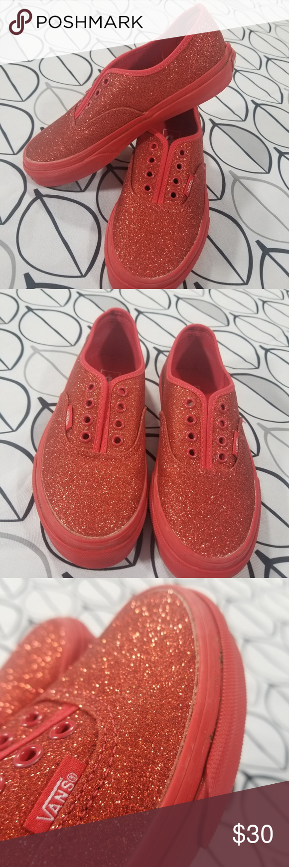 28ba84a3158f Kids Red Glitter Sparkle VANS Little Girl size 2 THERE IS NO PLACE LIKE HOME !
