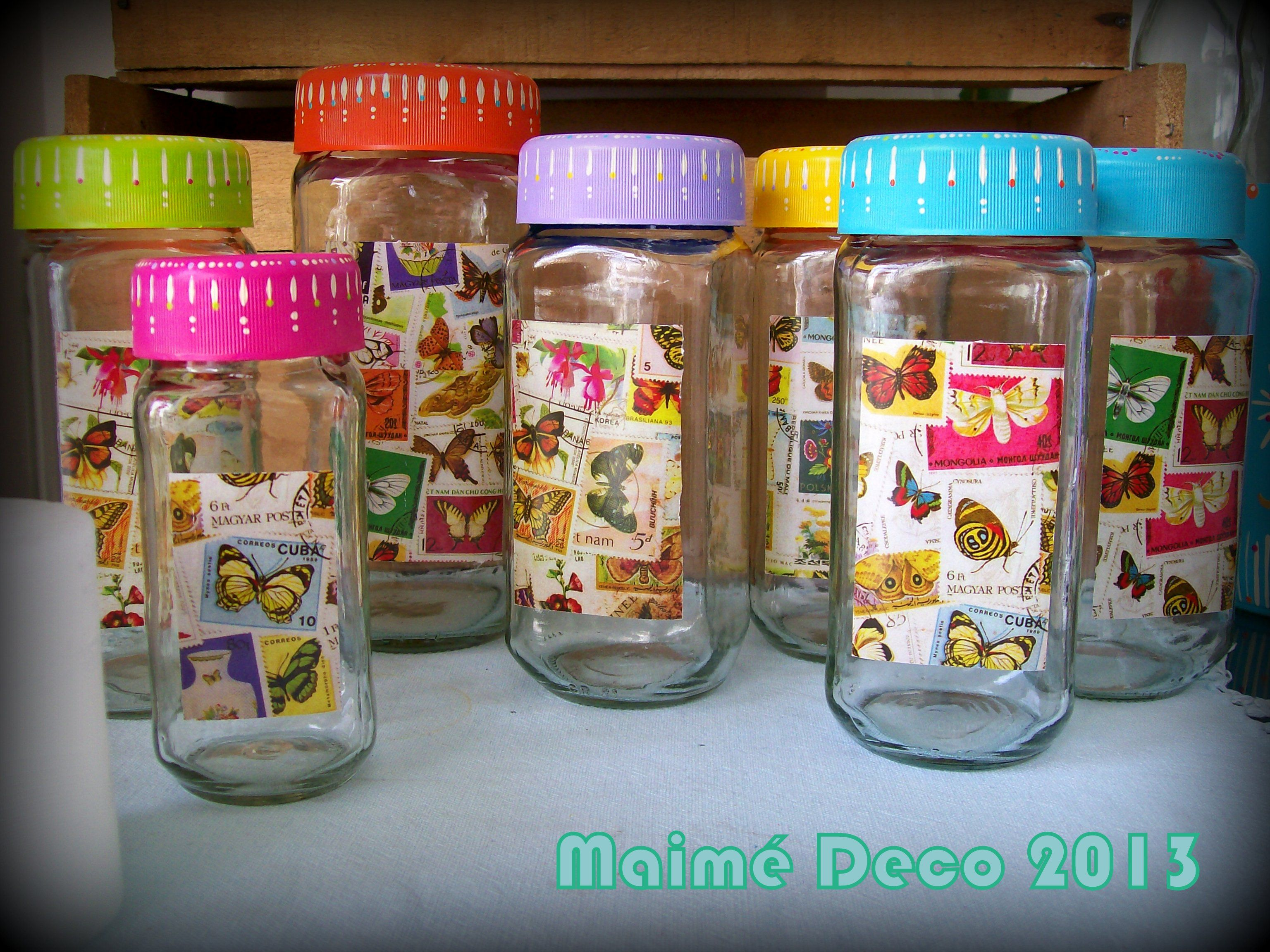 Frascos de caf con tapas pintadas y frente con l minas for Reciclar frascos de vidrio de cafe