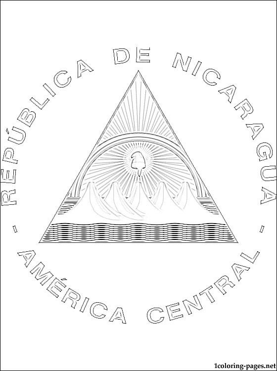 nicaragua coat of arms coloring page coloring pages