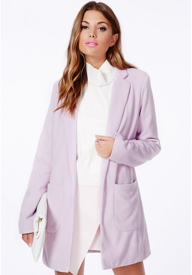 5d3e322a7 Missguided Vanessa Lilac Tailored Coat on shopstyle.com | WaRDRoBe ...