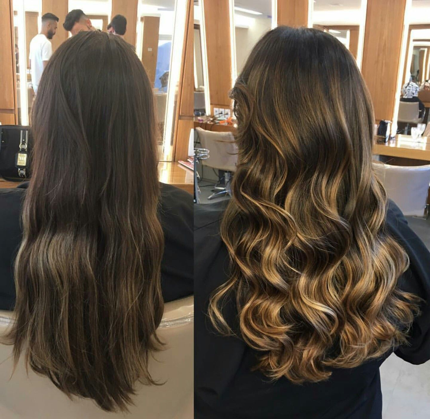 Ombre Balayage Hair Before After Brown Curls Bruenett Blonde Long Shiny credit jacksonnunesoficial ig Brazilian hair cut style winter highlights lowlights