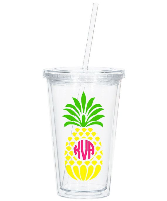Pineapple Monogram Tumbler Custom Monogram by ThePinkWalrus