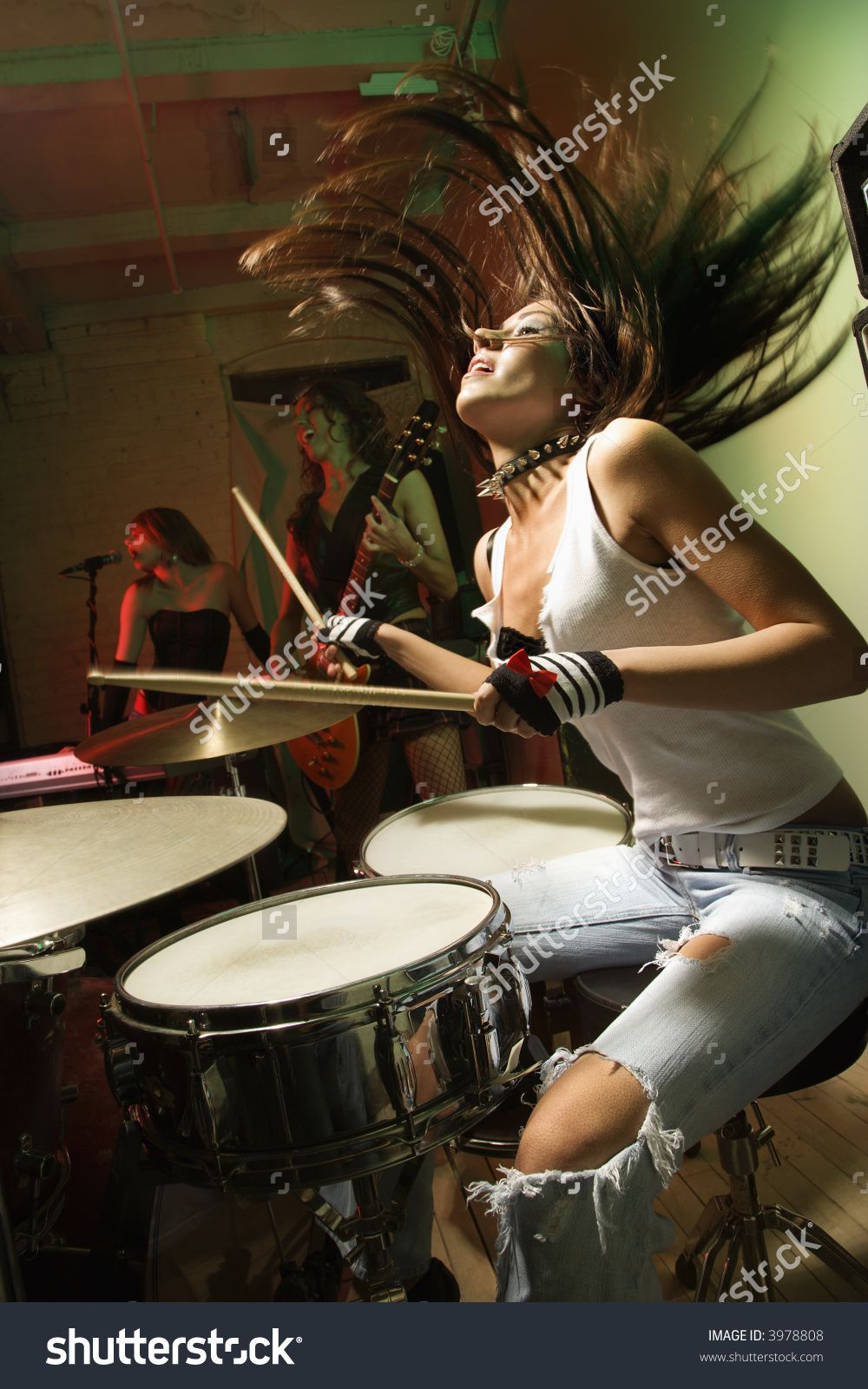 Caucasian Girl Band Playing Instruments Female Drummer Drums Girl Drums