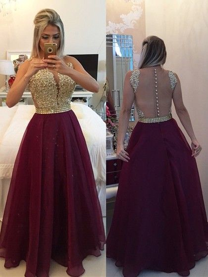 e1d05fd335 Sexy Burgundy Chiffon Lace Scoop Neck A-line Prom Dresses  dressfashion   promdress  promdresses