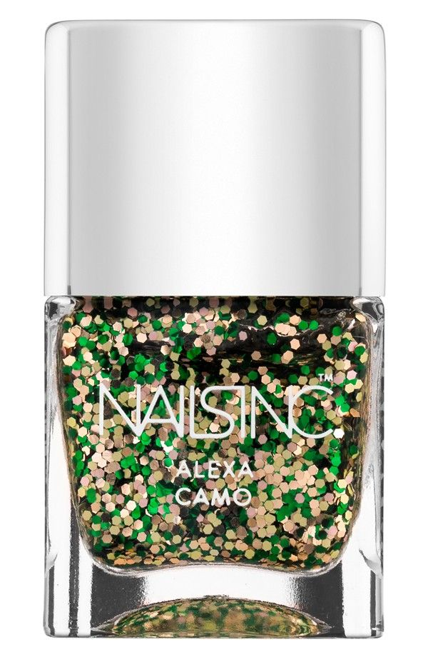 So festive! In love with this green and gold glitter nail polish ...