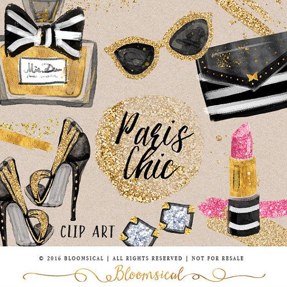 Paris Chic Beauty Clip Art Gold glitter shoes earrings