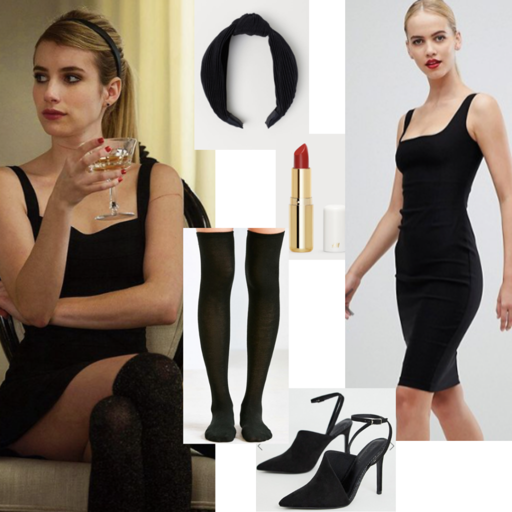 Madison Montgomery Style Outfit With Little Black Dress Black Heels Over The Knee Socks And A Black Headband Fashion Madison Montgomery Cute Vintage Outfits [ 1024 x 1024 Pixel ]