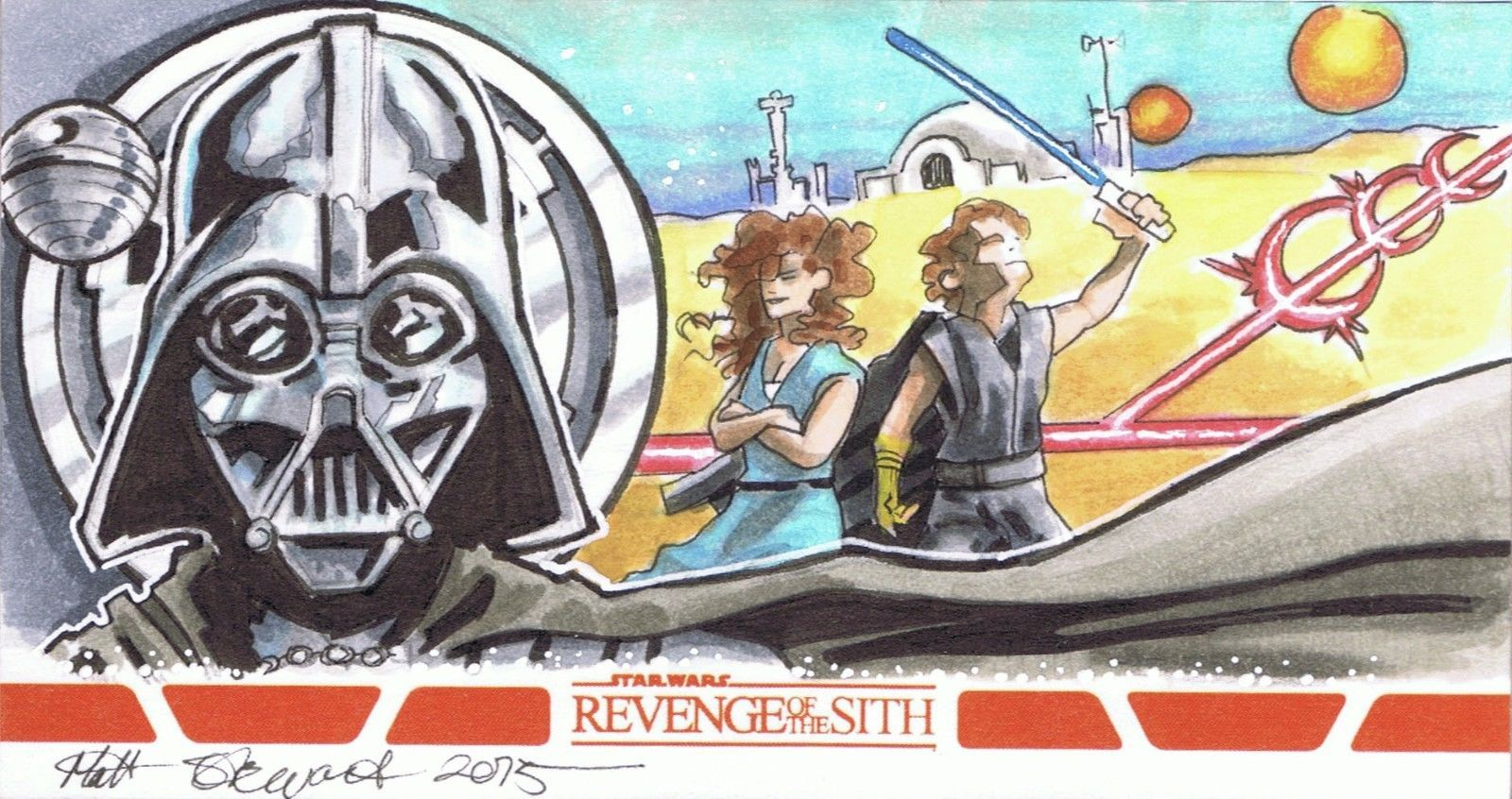 Topps 2015 Revenge Of The Sith Vader Anakin Tatooine Sketch Card By Stewart Ebay With Images Sketches Artist Sketches Cards
