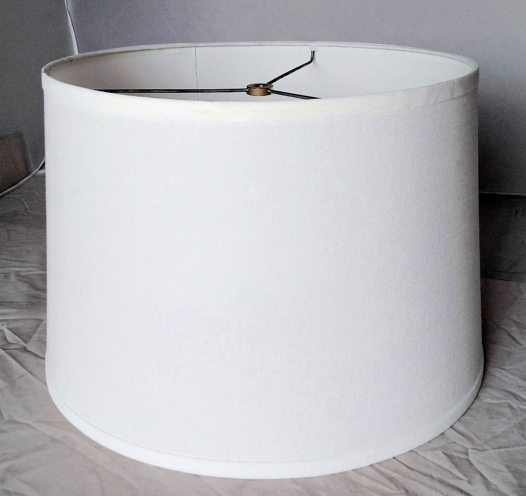 White Shallow Drum Lamp Shade 14 W