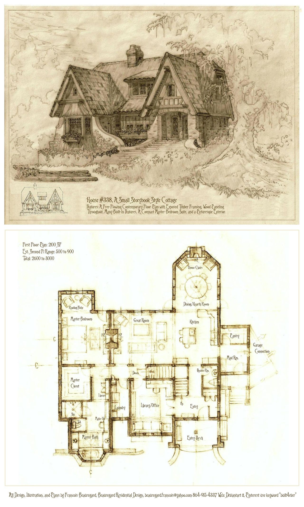 House 338 Portrait And Floor Plan By Built4ever On Deviantart Cottage House Plans Storybook Cottage Vintage House Plans