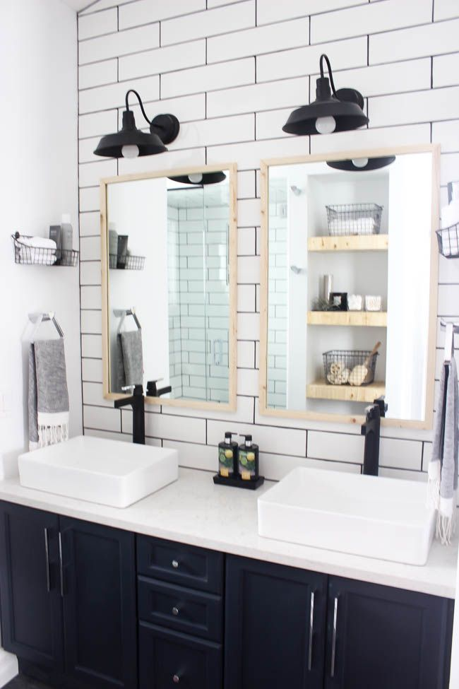 Modern Bathroom Reveal | Navy cabinets, Black grout and Wood grain tile