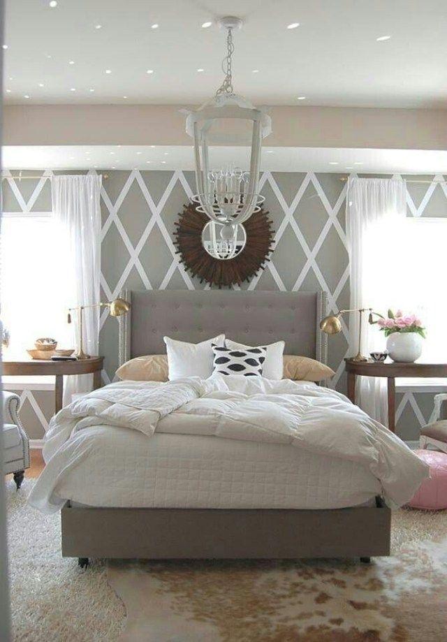 schlafzimmerwände gestalten mit tapeten-großformatige rhombische ...