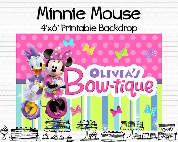Minnie Mouse Bowtique Backdrop Printable Custom Minnie Mouse