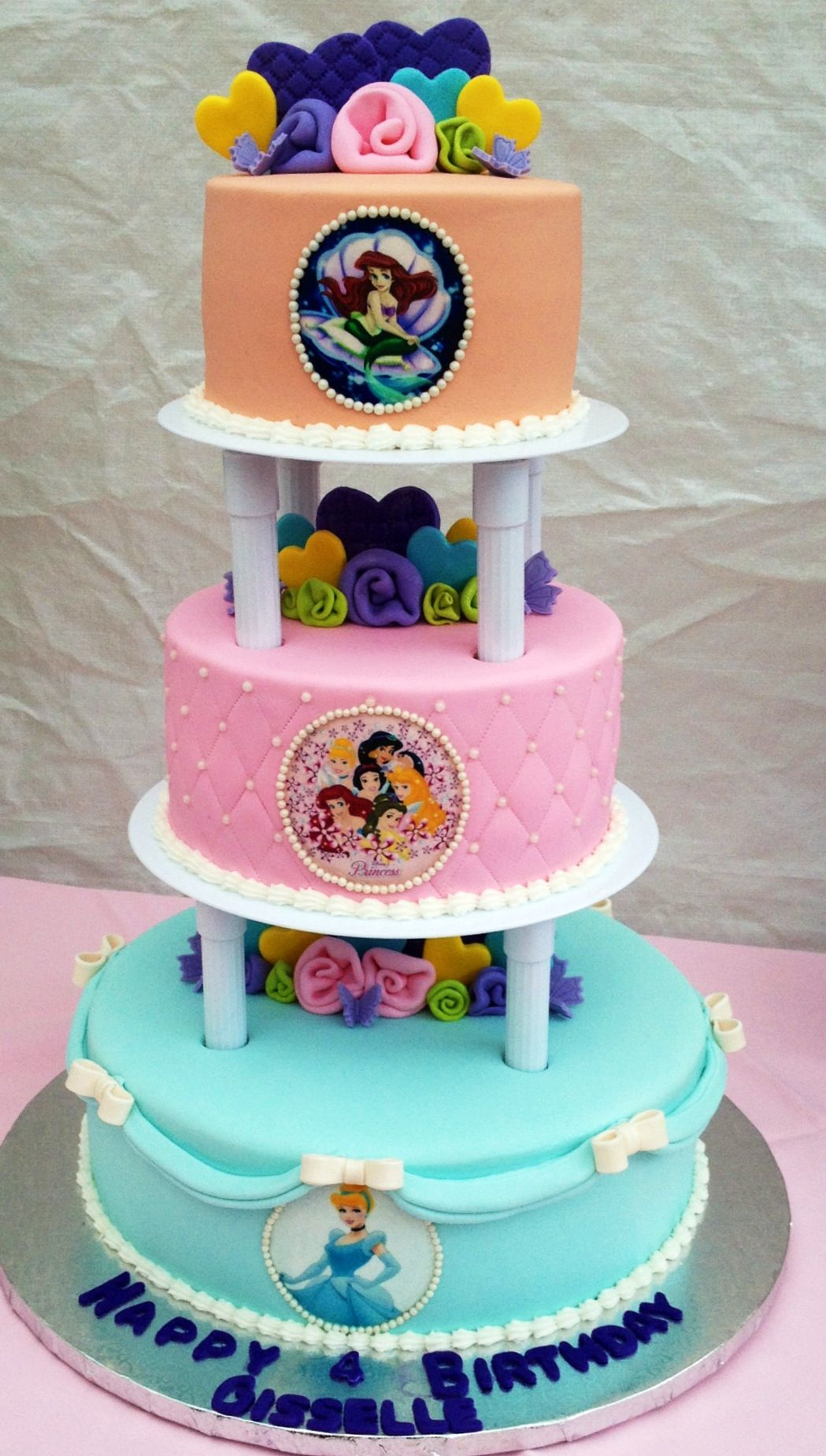 Made This 2 Tier Pillars Princesses Birthday Cake With Edible Images