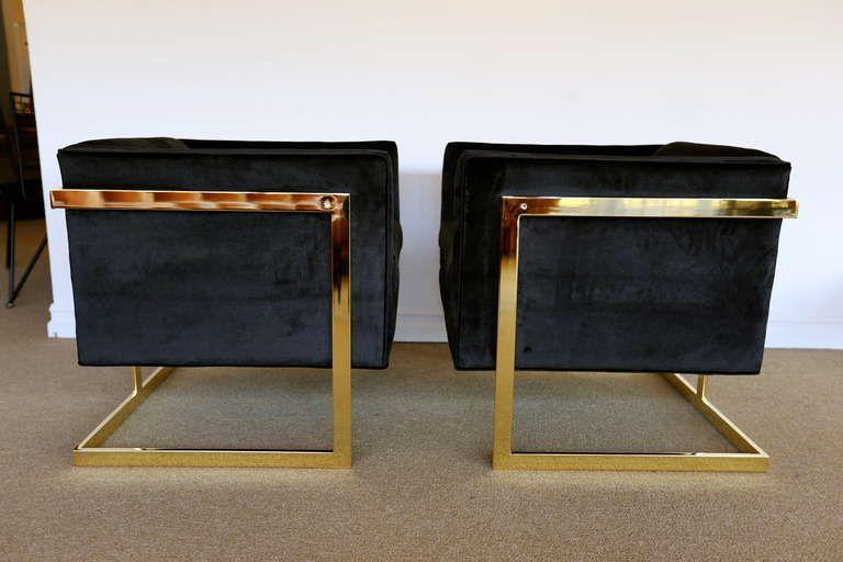 pair of brass milo baughman t bar lounge chairs living room rh pinterest com