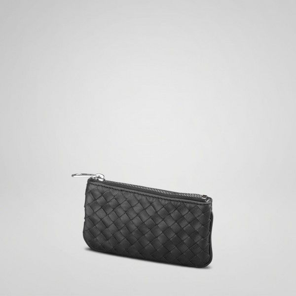 8c5a8560b3cc Bottega Veneta Nero Intrecciato Nappa Key Case style 131232 V0016 1259 This  elegant key holder has a zippered pouch with an attached key chain that can  also ...