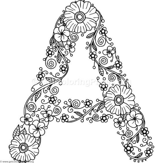Free to download Floral Alphabet Letter A Coloring Pages #