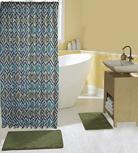 Complete 15 Piece Bath Set With 2 Memory Foam Mats Shower Curtain And Hooks