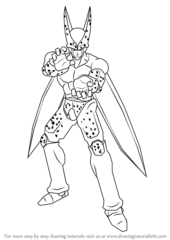 Learn How to Draw Cell from Dragon Ball Z (Dragon Ball Z) Step by ...