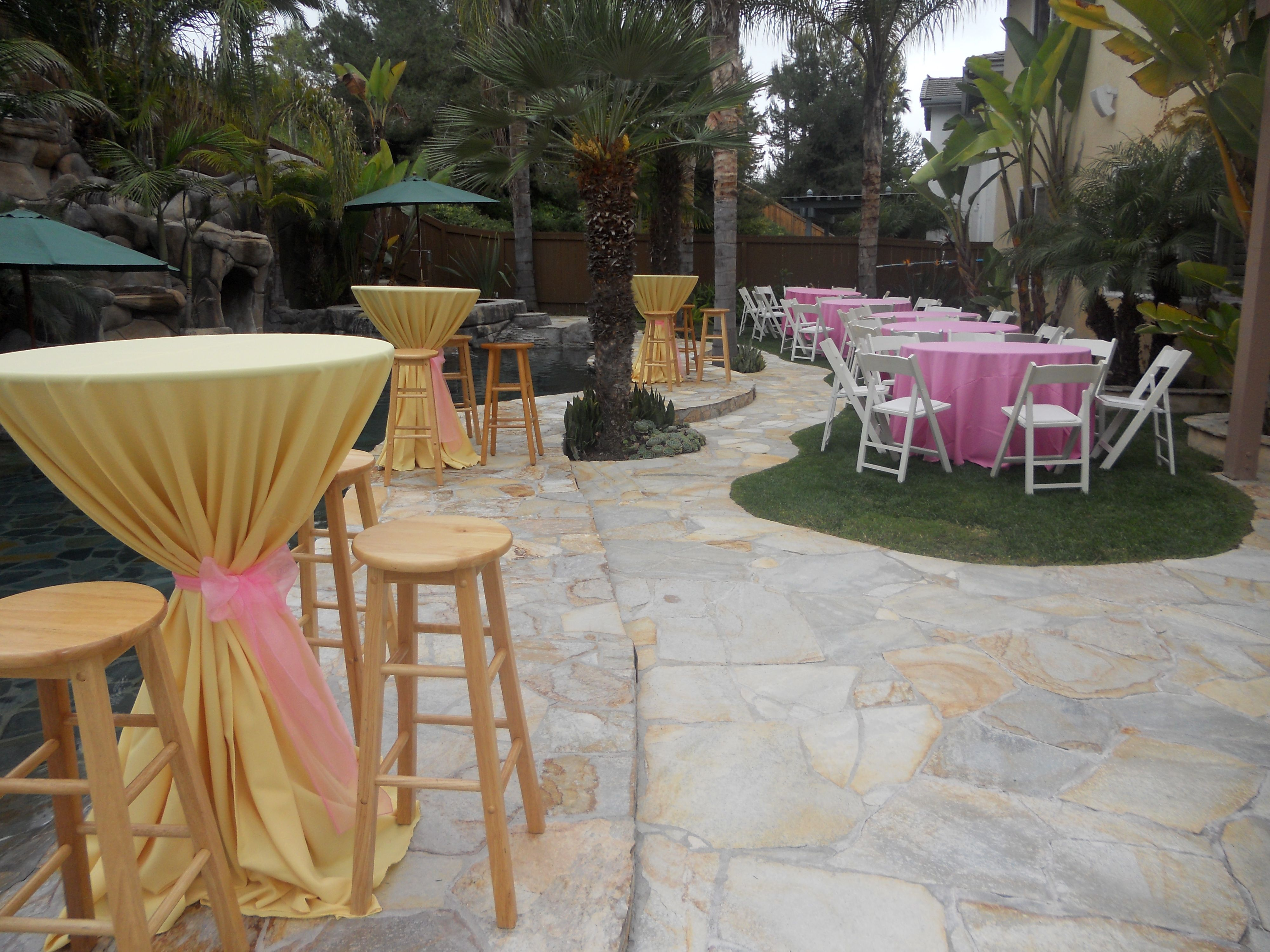 backyard party bellye bars with a diana gold linen tied with a