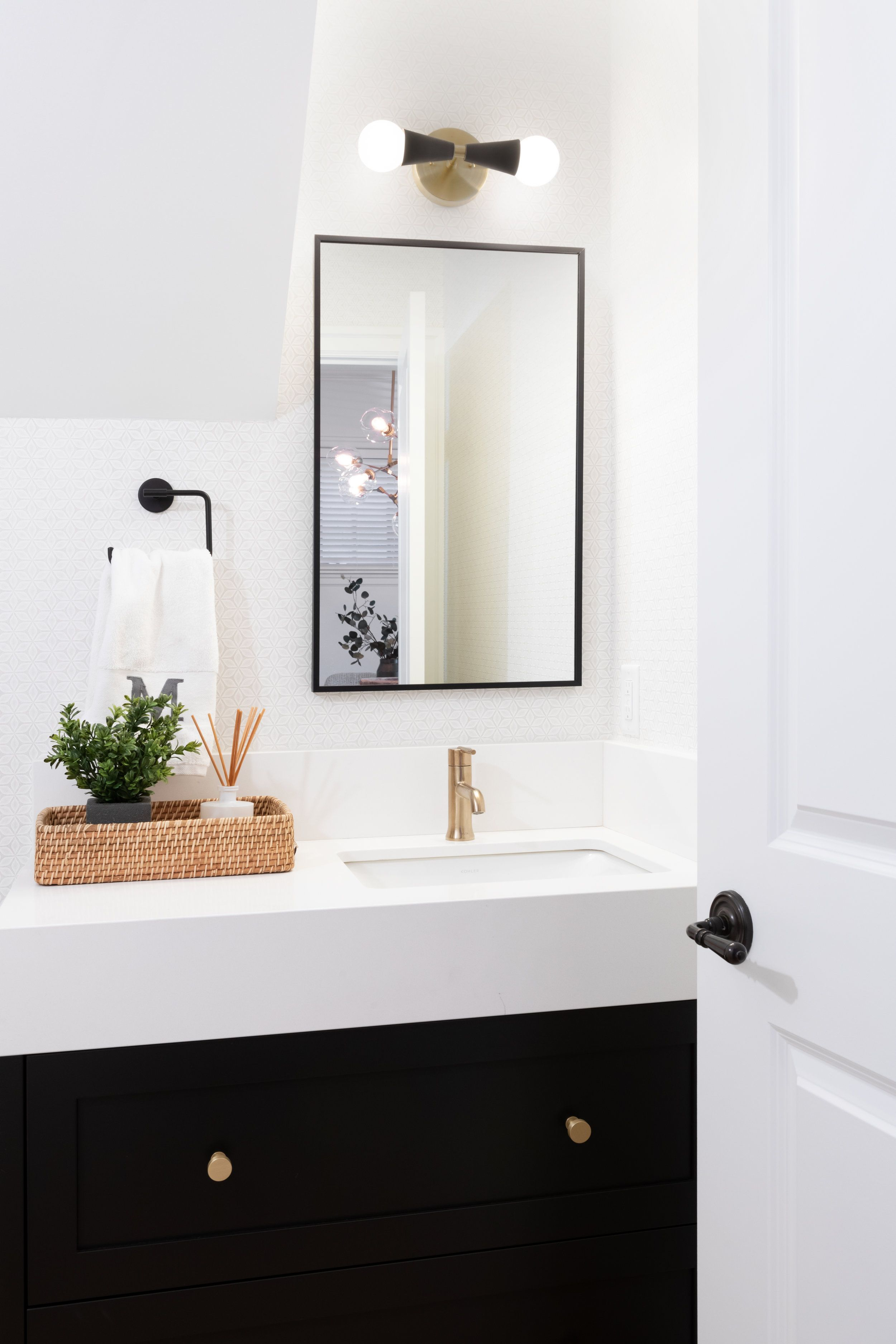 Modern Bathroom With Black Vanity Rectangle Mirror And