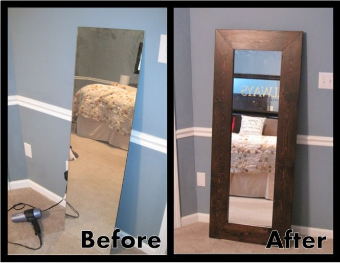Leaning Mirror with a great tutorial for attaching the mirror to the ...