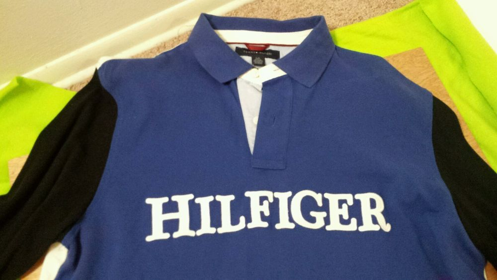 TOMMY HILFIGER MEN'S LONG SLEEVE SHIRT for big and tall, large Blue black shirt #TommyHilfiger #longsleeve