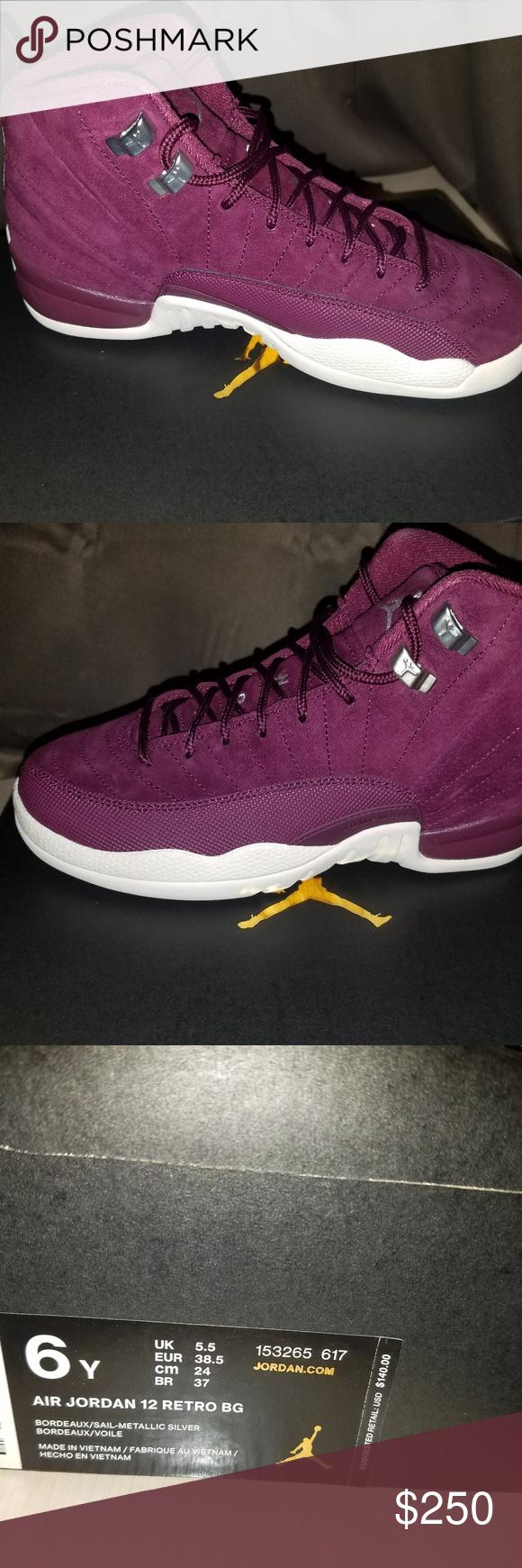 new arrival 6c9b1 52f20 Air Jordan Reto 12 Burgundy Size 6 Burgundy Air Jordan Retro 12 in Big Kids  Boys Size 6, NEW IN BOX Air Jordan Shoes Sneakers