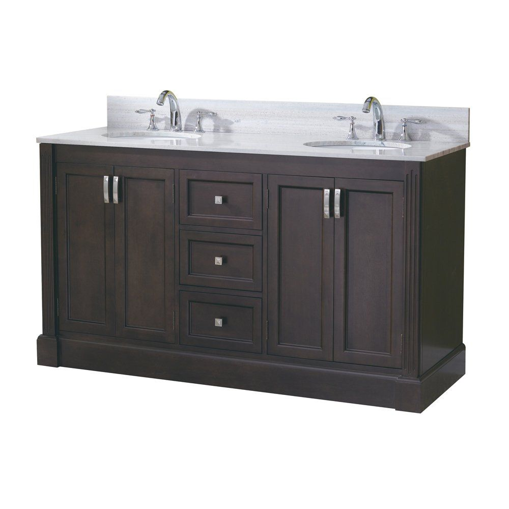 traditional bathroom vanities with white scheme   allen + roth 61-in Espresso Kingsway Traditional Bath ...