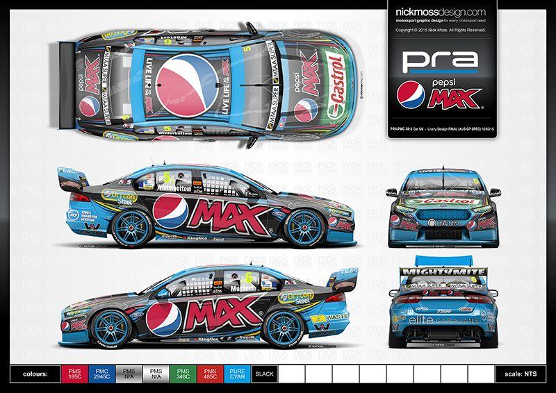 Nickmossdesign Com 2015 Prodrive Racing Australia Pra Pepsi Max Crew Cars 5 6 V8 Supercar Livery Design Super Cars Car Wrap Design Car Wrap