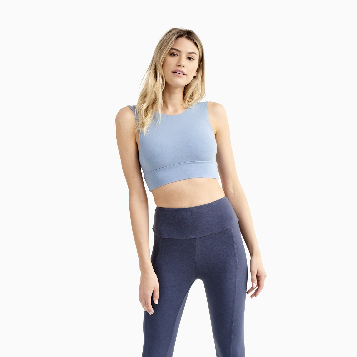 Our baby blue 87 organic cotton sports bra, great for